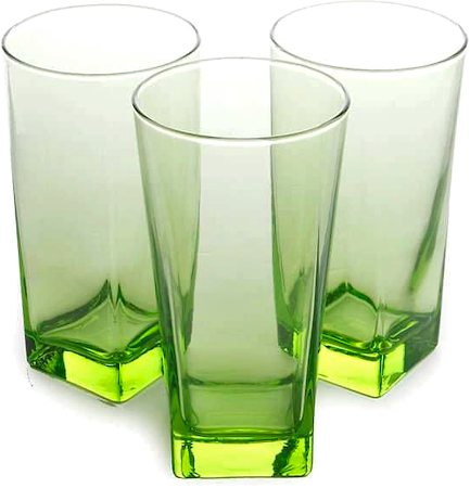 Pasabahce Carre Long Glass Green, 290 ml - set of 6