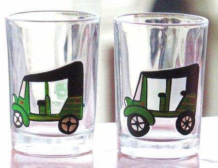 ScrapShala Hand-Painted Auto Theme Chai Glass, 200 ml - set of 2