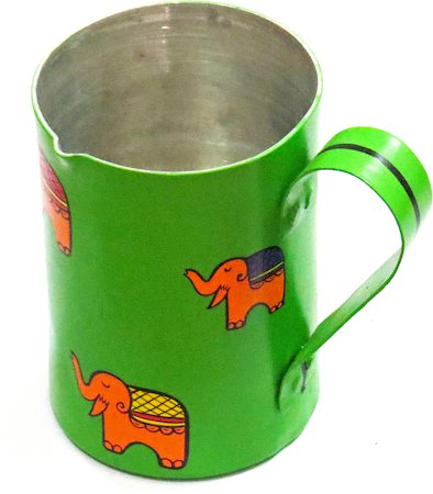 ScrapShala Hand-Painted Elephant Themed Tea Serving Litre Mug - Green and Orange